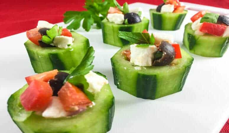 Cucumber Cups With Greek Style Filling