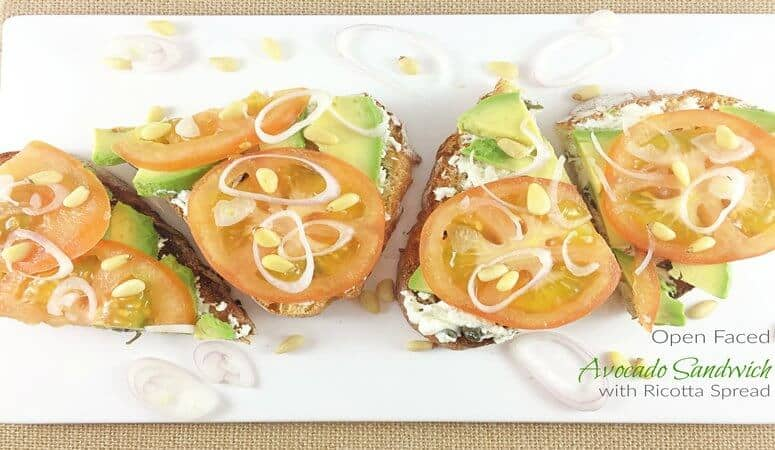 I'm in love with this simplest than ever open faced avocado sandwich with creamy and crispy capers and ricotta spread. One bite and you are hooked.