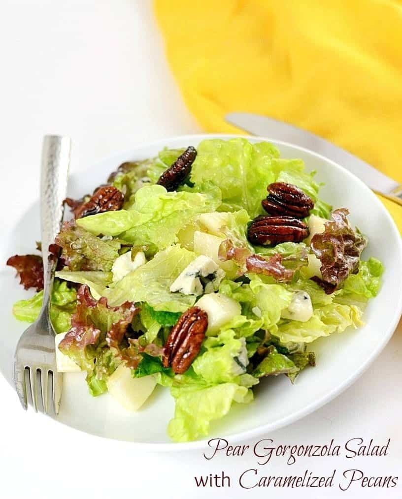 This Pear Gorgonzola Salad is an amazing burst of flavors. Made in minutes, this healthy and delicious meal is sure to please.