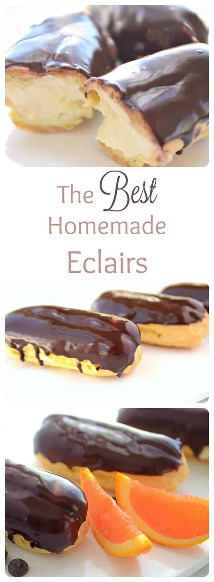This is the best HOMEMADE eclair recipe. These chocolate eclairs are absolutely mouthwatering. You won't be able to stop eating this decadent dessert. French Eclairs are definitely a melt in your mouth delight.
