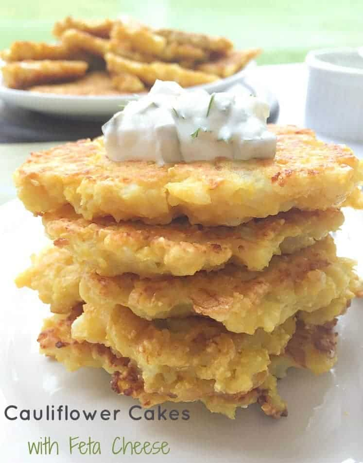 These healthy Cauliflower Cakes with Feta and Dill Pickle Sauce are a bunch of a delicious goodness. Crispy, flavorful and good for you.
