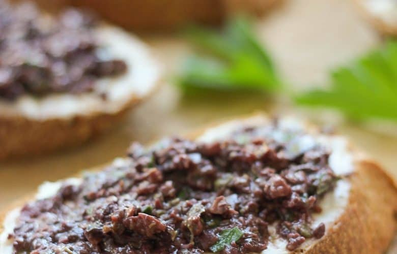 Crostini With Whipped Cream Cheese And Kalamata Olive Tapenade