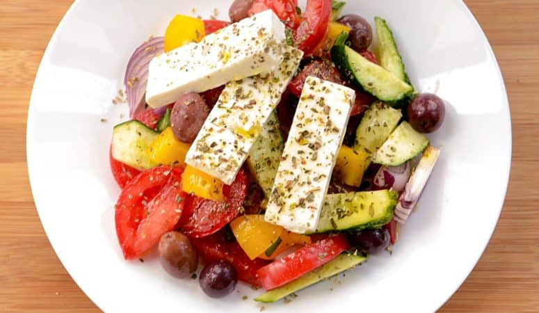 Shepherd Salad With Sweet Pepper, Red Onions And Oregano