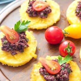 Polenta Bites With Black Olive Tapenade