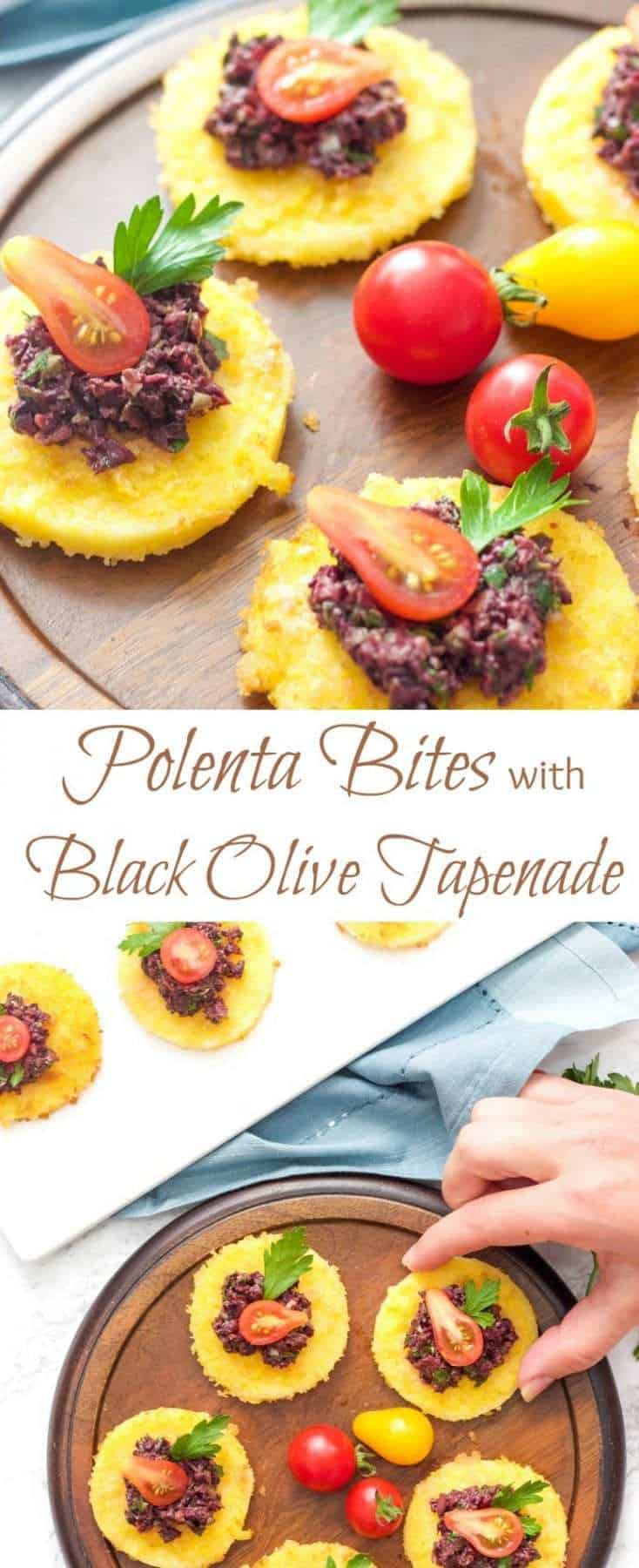 Crispy polenta bites topped with rich and flavourful black olive tapenade create a simple yet decadent appetizer that always go fast.