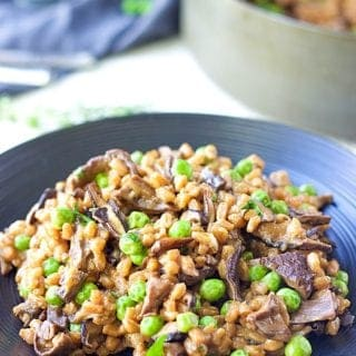 Farro Risotto With Wild Mushrooms And Peas