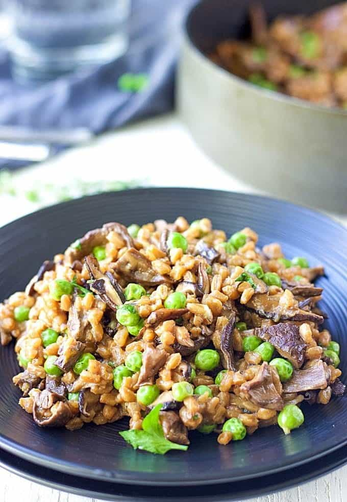 Mushroom Farro Risotto | Healthy Farro Risotto | Farro Risotto Recipes
