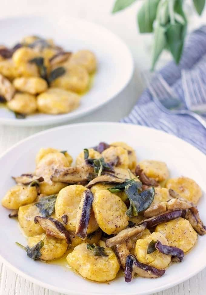 Pumpkin Ricotta Gnocchi With Shiitake Cream Sauce -