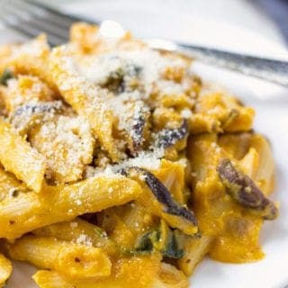 Shiitake Penne With Butternut Squash Creamy Sauce