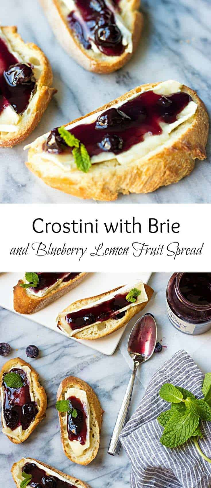 Delicious holiday appetizer made in under 10 minutes. These Crostini with Brie and Blueberry Lemon Fruit Spread are excellent party-starters.