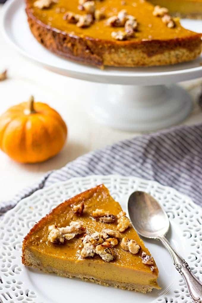 Hazelnut Crust Pumpkin Caramel Pie - Lavender & Macarons