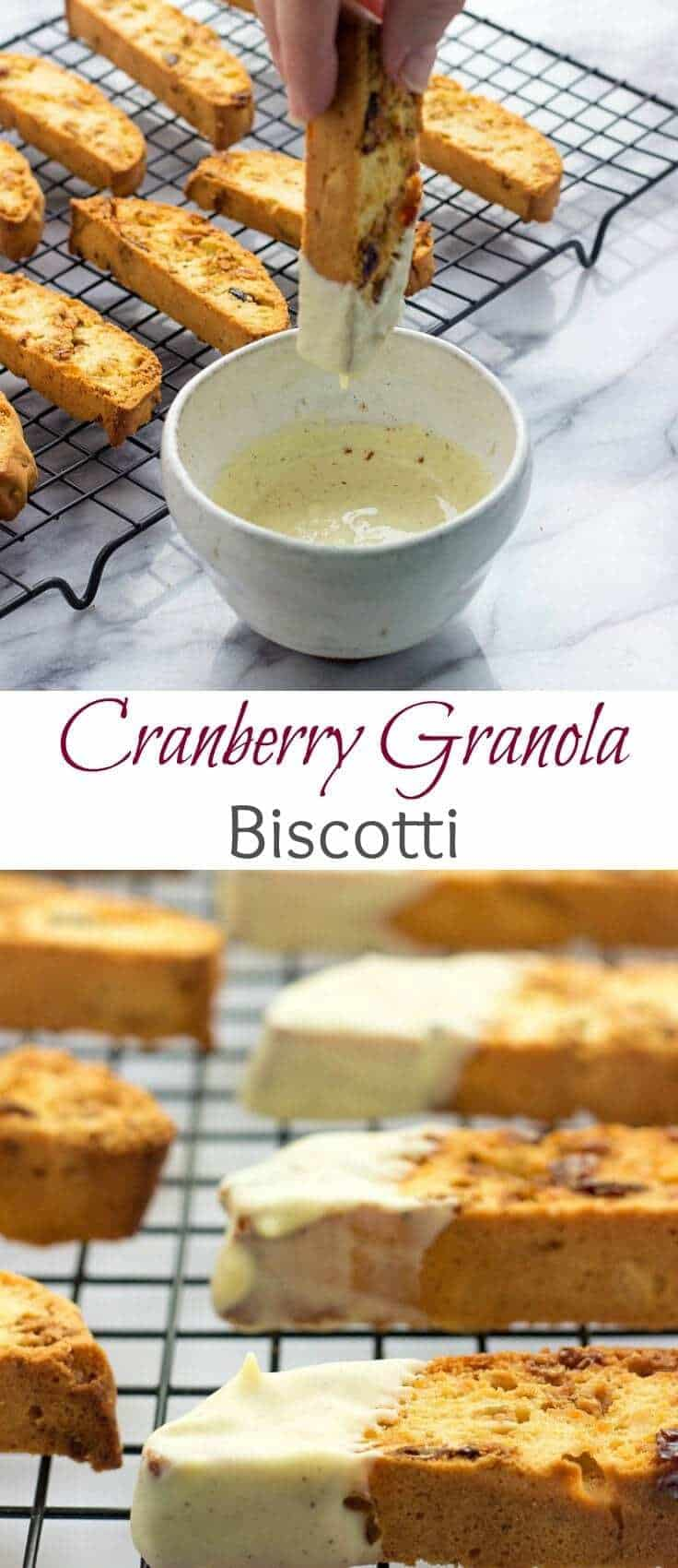 Cranberry Granola Biscotti | Cranberry Biscotti Recipe | Cranberry Biscotti With White Chocolate Dip | Cranberry Biscotti Recipe For Breakfast
