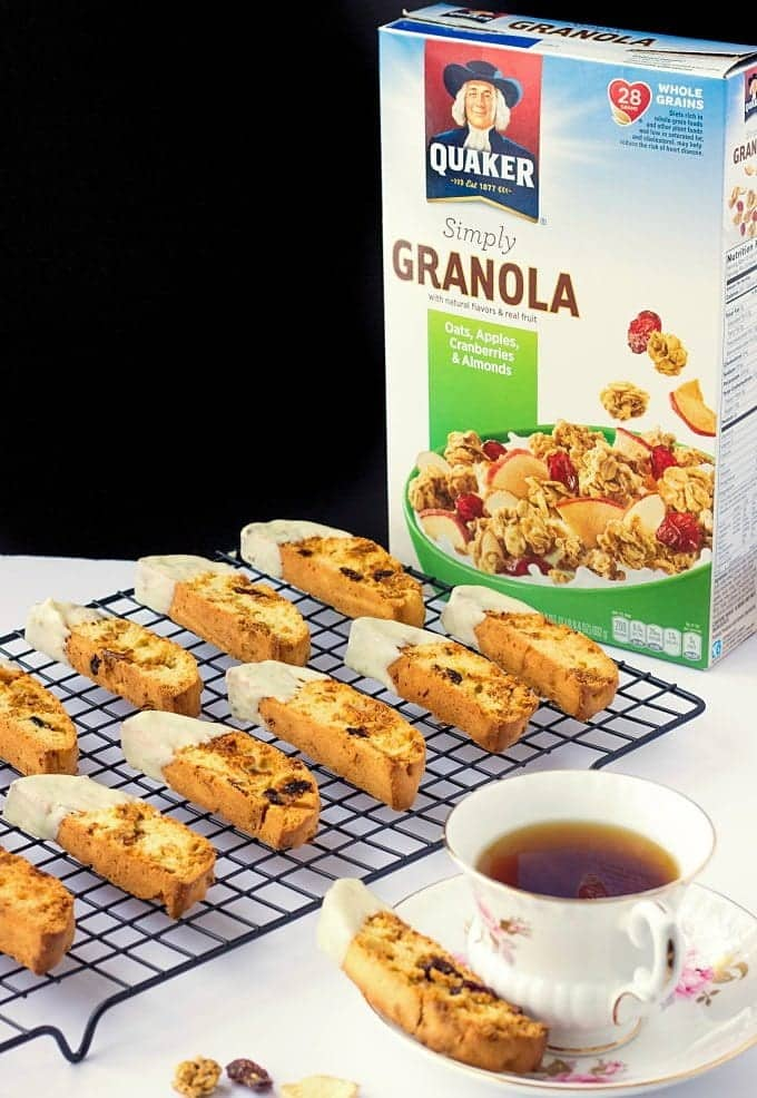 You've got to try these Cranberry Granola Biscotti. Made with crunchy granola and dipped in white chocolate, they're a perfect pair for your morning coffee.