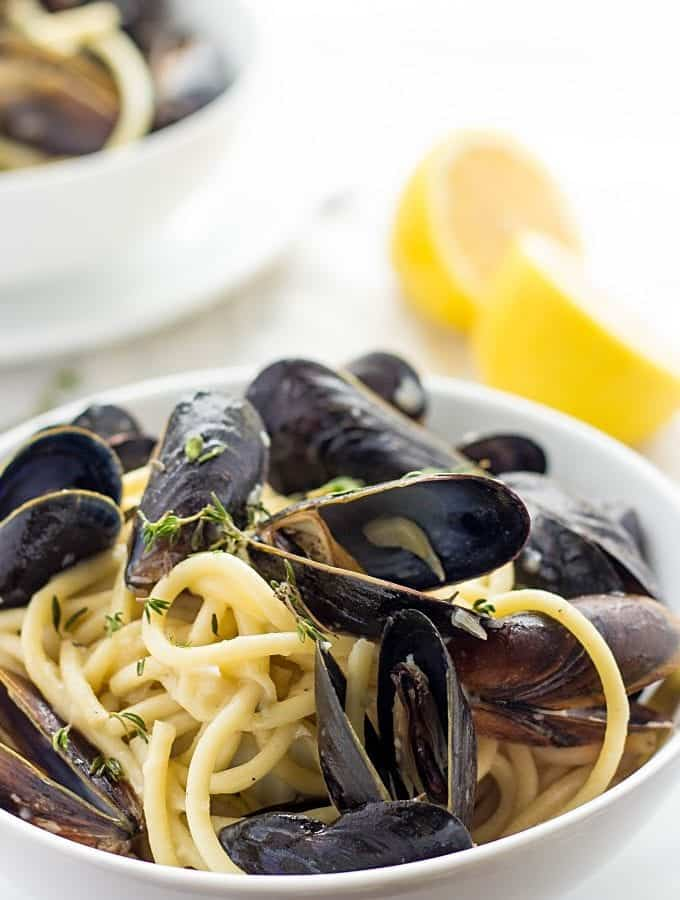 Pasta With Mussels In A Bowl
