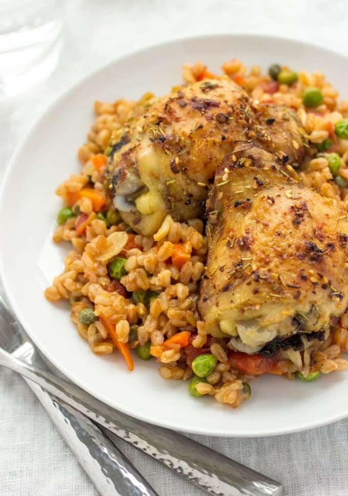 Herbed Chicken With Farro Risotto