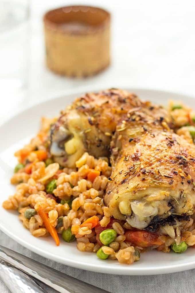 Herbed Chicken | Farro Risotto | Farrotto | Farro Risotto Recipes