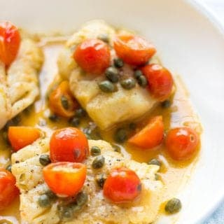 Seared Cod With Tomato-Caper Sauce