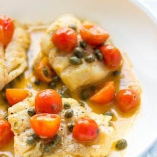 Seared Cod With Tomato-Caper Sauce
