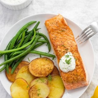 Seared Salmon With Browned Potatoes And Green Beans