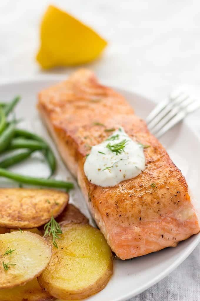 How to sear a salmon | seared salmon | fingerling potatoes | quick green beans