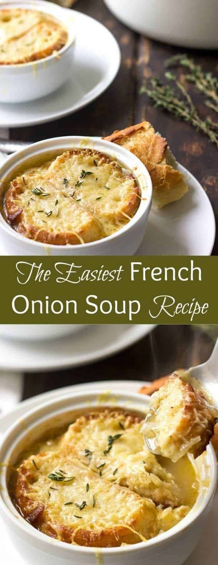 This Easy French Onion Soup is a crowd-pleaser. It's loaded with flavor from caramelised onions and melty cheese. If you ever wanted to learn how to make French Onion Soup, this is the only recipe that you need.