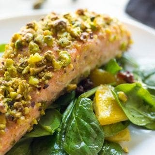Pistachio Crusted Salmon With Spinach Raisin Salad