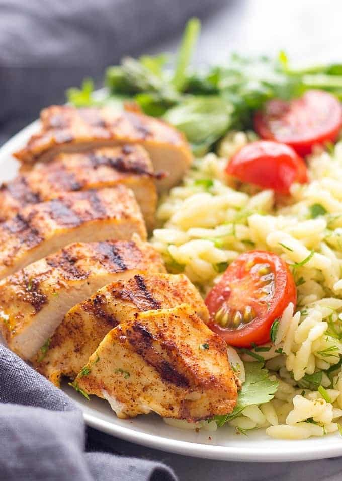 Grilled Chicken and Asparagus with Herbed Orzo is a healthy and delicious weeknight meal made in under 30 minutes. Flavor and satisfaction areguaranteed.