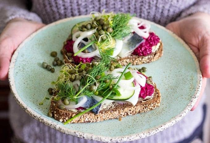 Smørrebrød Recipe | Danish Open-Faced Sandwich | Smørrebrød Ideas | Herring Smørrebrød