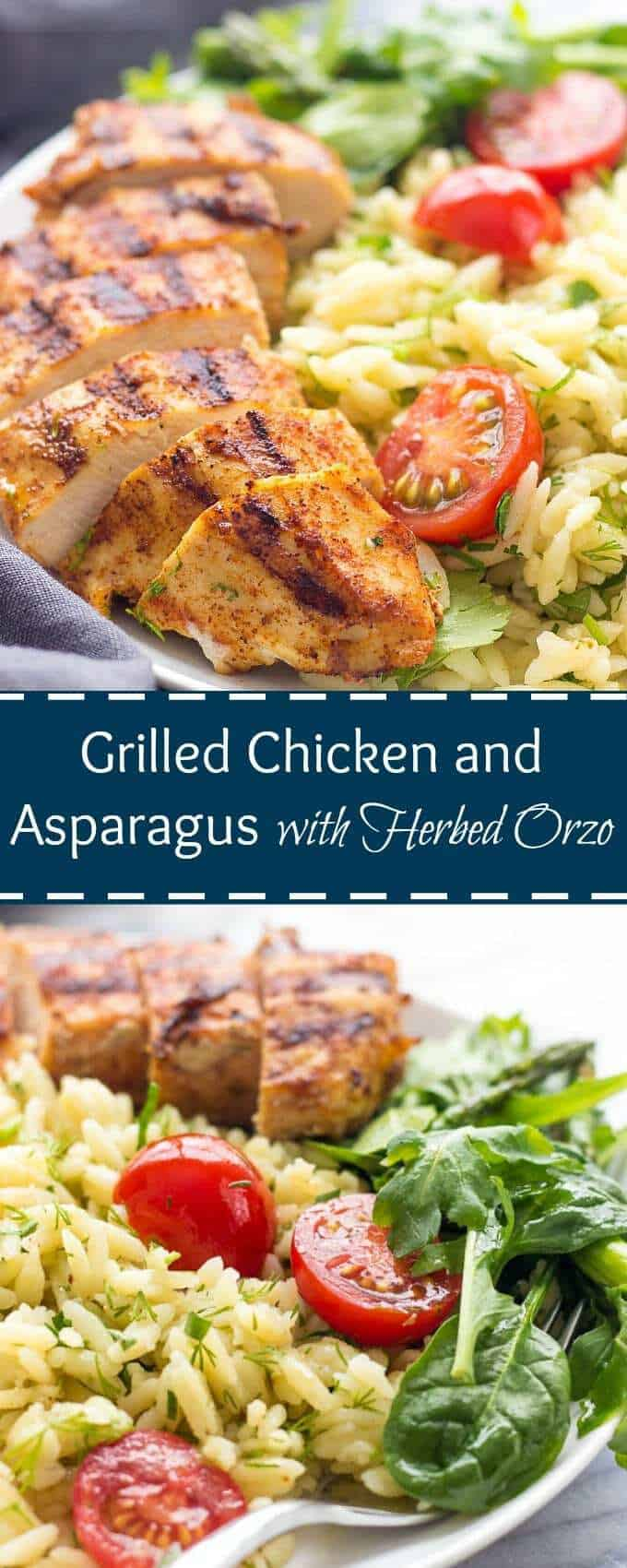Grilled Chicken and Asparagus with Herbed Orzo is healthy and delicious weeknight meal made in under 30 minutes. Flavor and satisfaction are guaranteed.