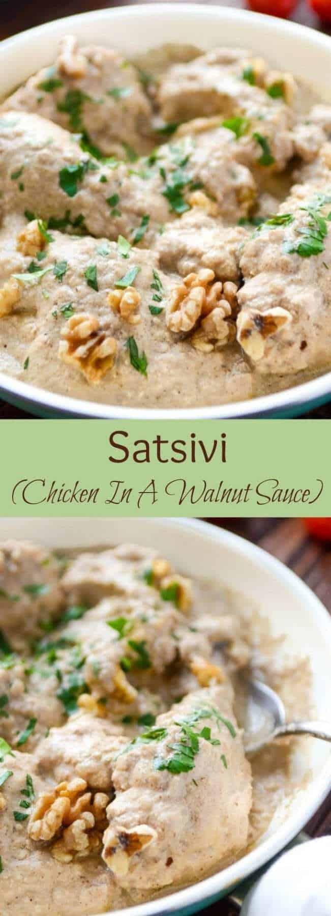 Satsivi | Chicken With A Walnut Garlic Sauce | Chicken With Walnut Sauce | Walnut Sauce | Creamy Walnut Sauce