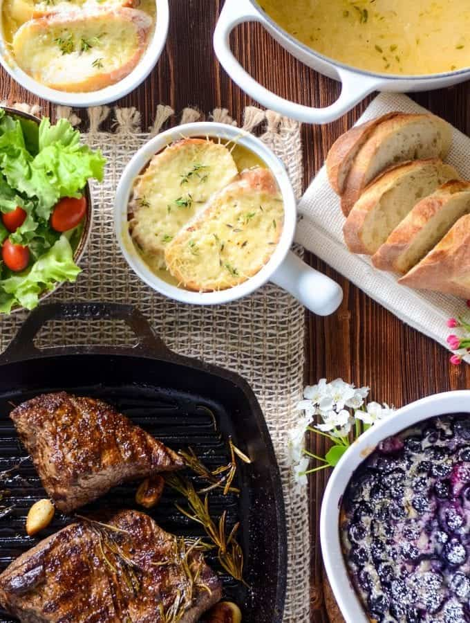 French Recipes that include French Onion Soup, Steak Chateaubriand and Blueberry Clafoutis