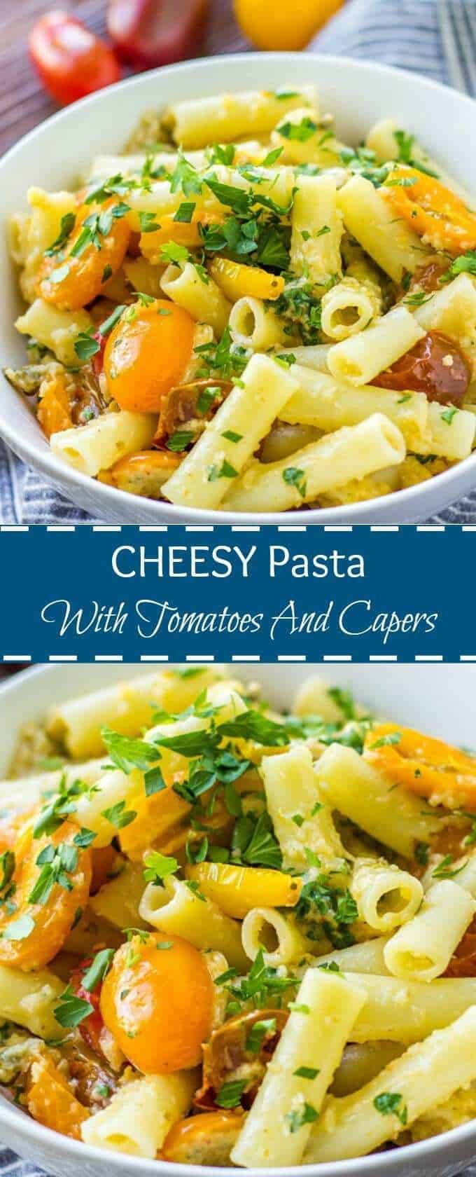 Cheesy Pasta With Capers And Tomatoes makes a quick and delicious weeknight meal. Stuffed with vibrant grape tomatoes, tangy capers and delicious combination of cheeses, this pasta recipe is sure to become your favorite.