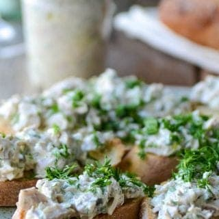 Tuna spread on toasts