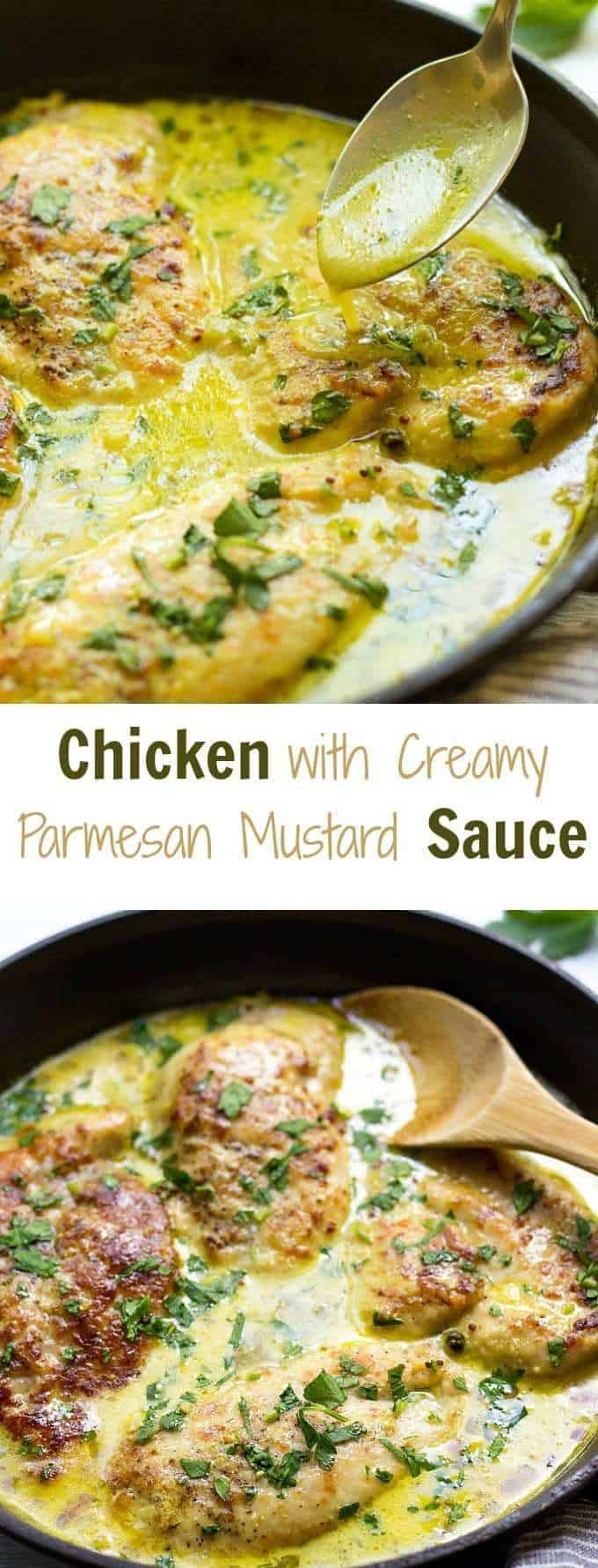 This French Chicken With Creamy Parmesan Mustard Sauce is a love at first bite! Prepared in under 30 Minutes, this Easy Chicken Recipe makes a perfect weeknight meal.