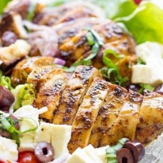 Grilled Chicken Greek Panzanella Salad