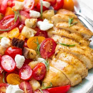 Grilled Chicken Salad With Tomatoes, Croutons And Goat Cheese