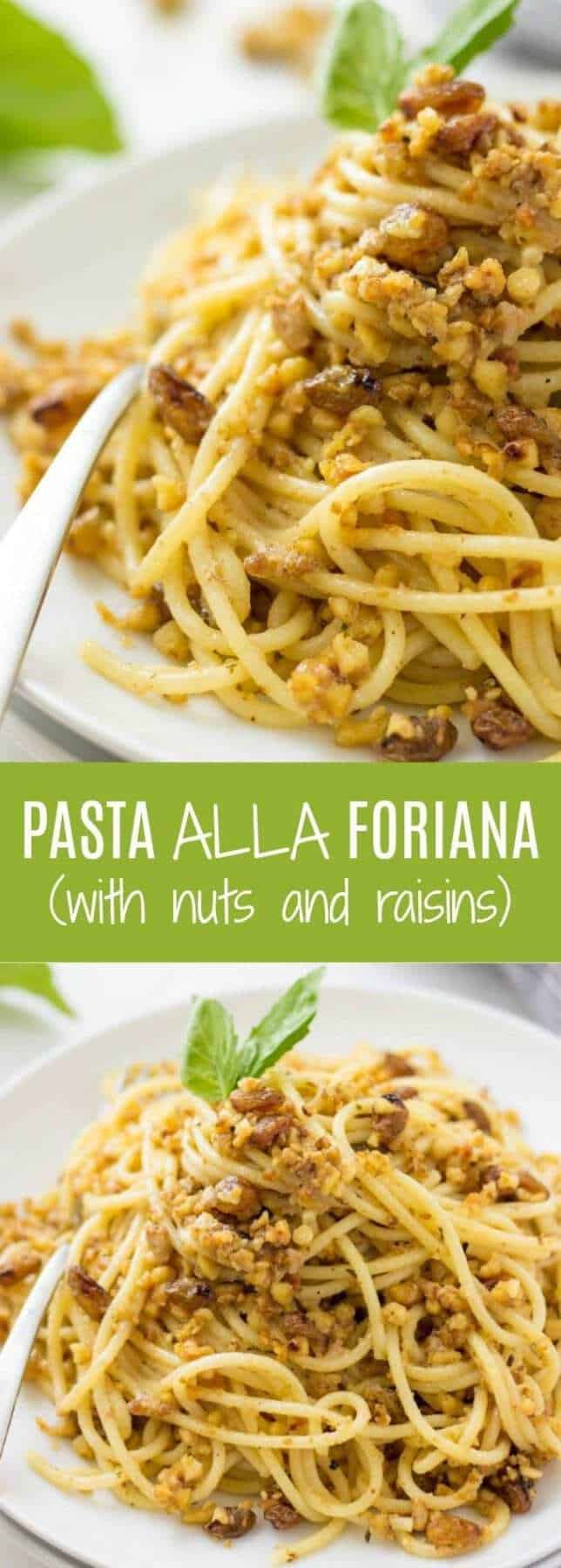 This HEALTHY Pasta Alla Foriana is a 20-minute dinner idea that everyone will love. Nutty, crunchy and slightly sweet sauce is so addictive!