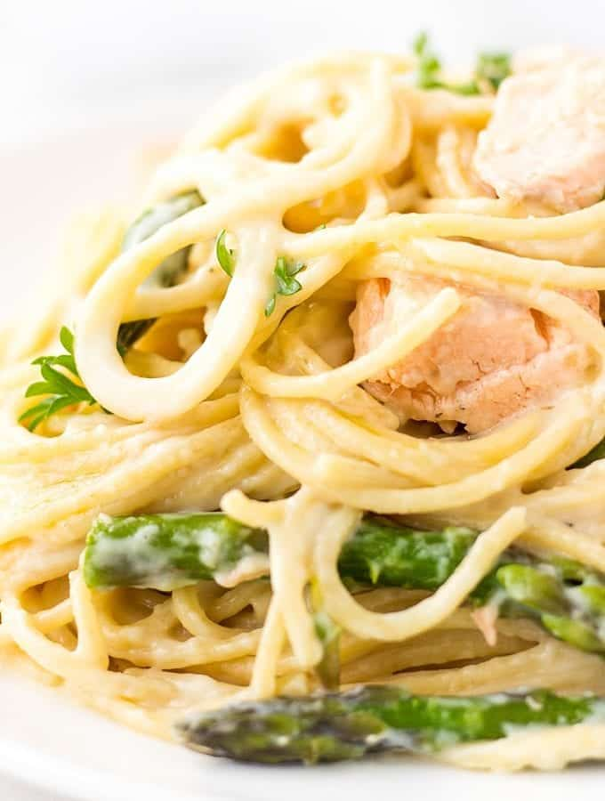 Pasta With Salmon And Asparagus in a creamy sauce