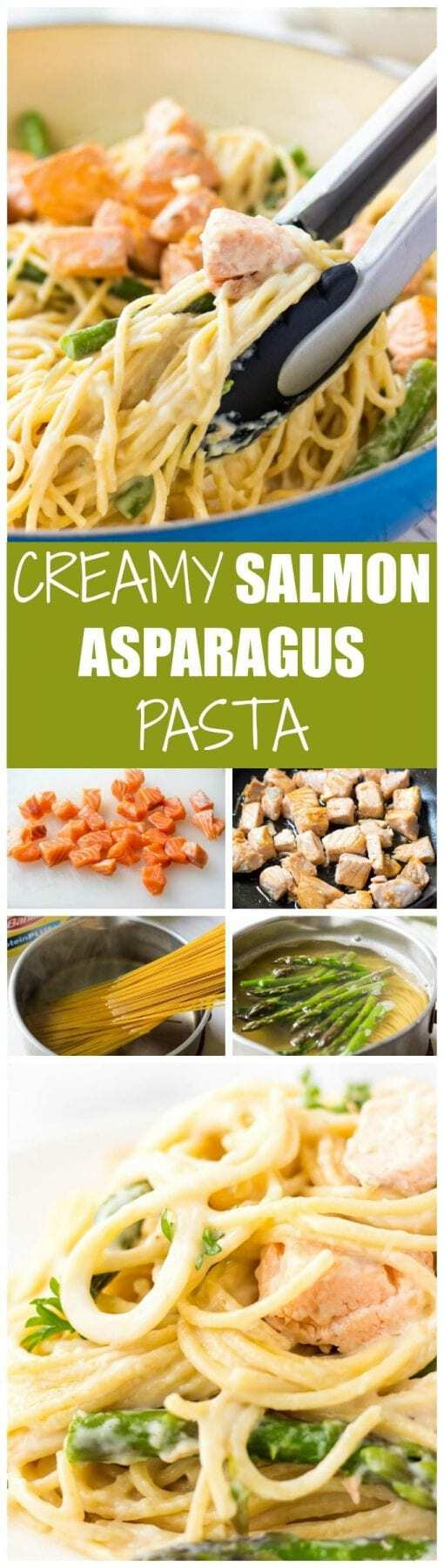 Looking for easy dinner recipes? This CREAMY SALMON ASPARAGUS PASTA is packed with comforting flavor. Easy to make and so delicious!