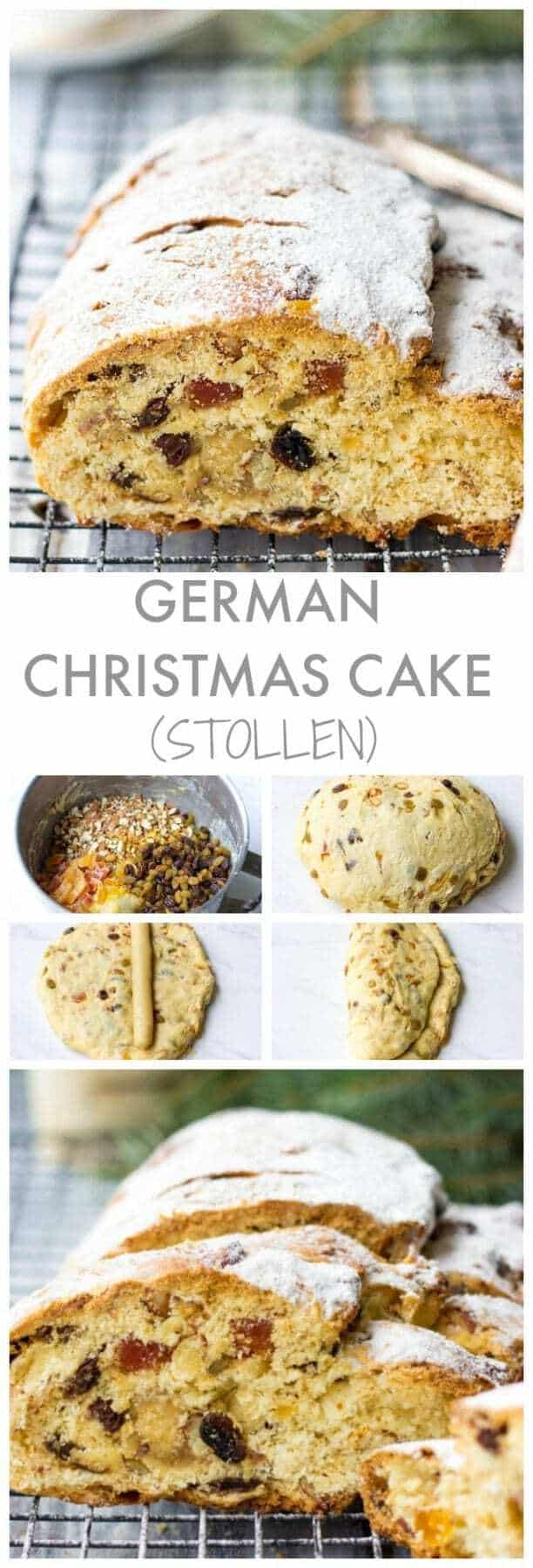 Looking for traditional Christmas dessert recipes? Try German Christmas Cake - Stollen. It is packed with dried fruits, almonds and marzipan and sure to become a beautiful addition to your Christmas dinner menu.