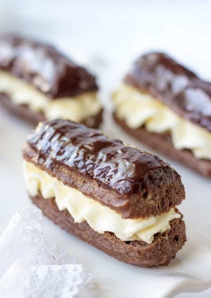Mini Chocolate Eclairs With Mascarpone Cream and Chocolate Covered Top