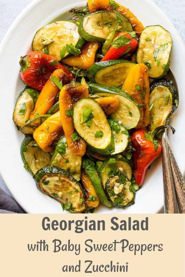 Looking for healthy zucchini recipes? Try this delicious Georgian Salad With Baby Sweet Peppers And Zucchini. So easy to make and so flavorful. One of the best and easy vegetable side dishes for summer. #sidedish #zucchini #grilling #summerrecipes