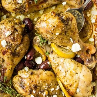 Chicken Riganati with Kalamata olives and Feta cheese in a pan