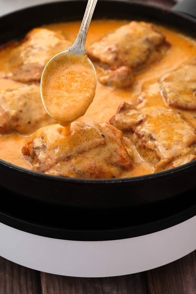 Cooking authentic Paprikash in a sour cream sauce
