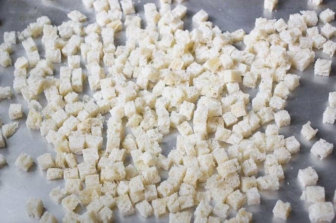 Making croutons for Pozharsky cutlets