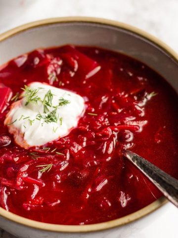 Side shot of a plant-based Borsch in a grey bowl on a white background