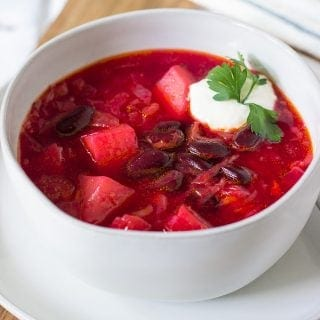 Slow Cooker Borscht in a bowl