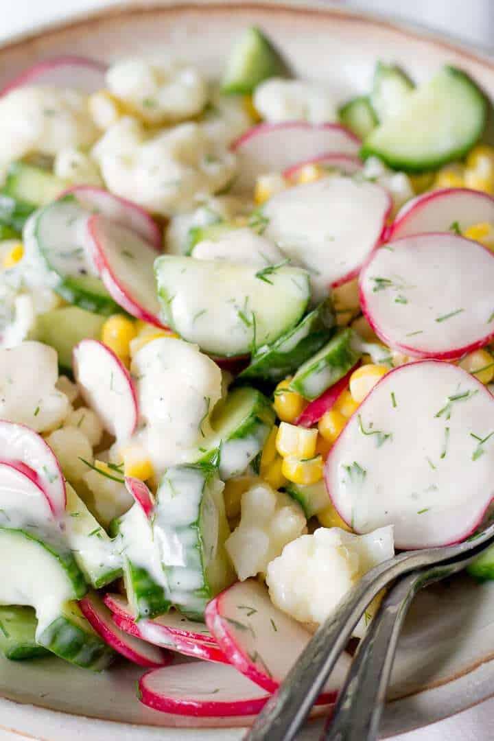 Creamy Cauliflower Salad With Corn And Radishes
