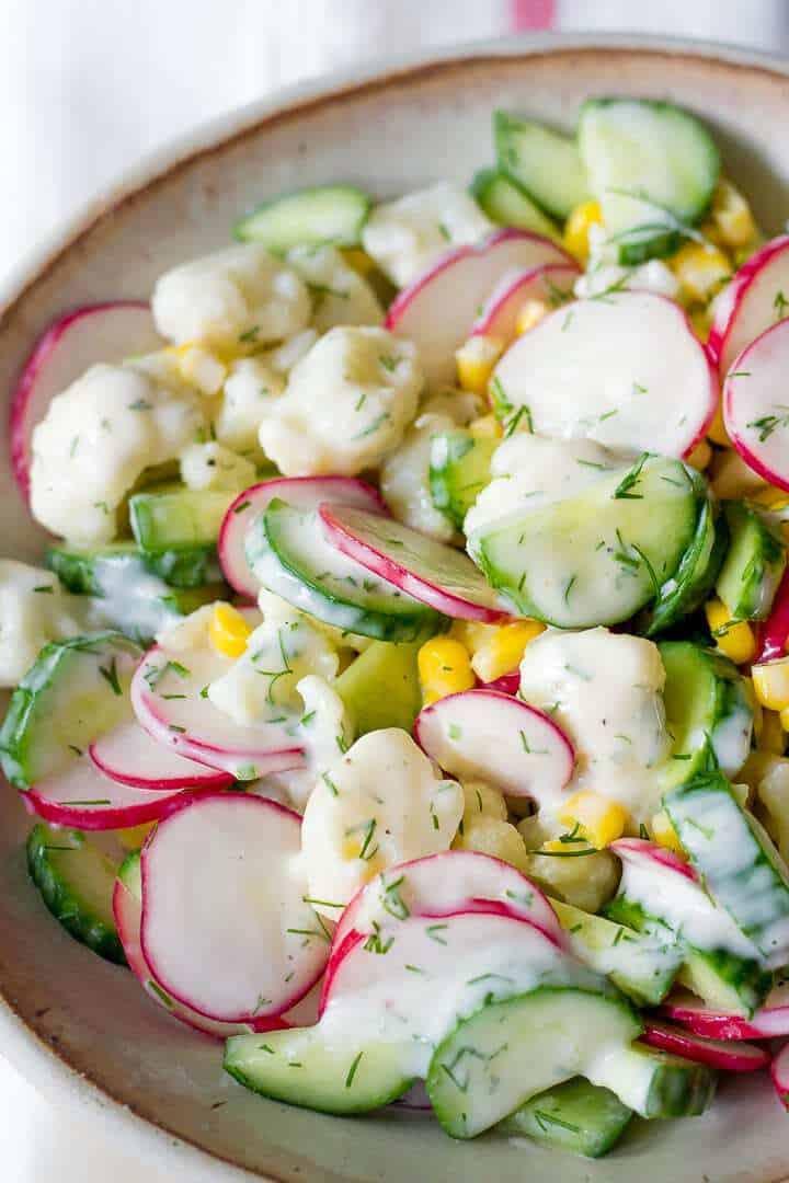 Cauliflower, Radish and Cucumber Salad