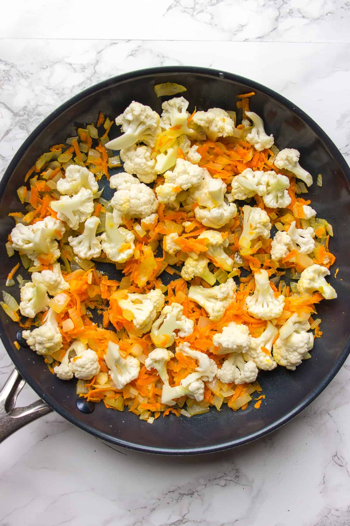 Sautéing cauliflower for the spring soup